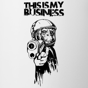 Monkey with gun and business suit Bottles & Mugs - Contrasting Mug
