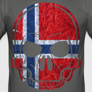 MMJ Norway flag / banner skull / Skull T-Shirts - Men's Slim Fit T-Shirt