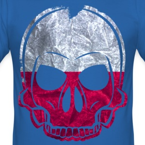 MMJ Poland Flag / Banner skull / Skull T-Shirts - Men's Slim Fit T-Shirt