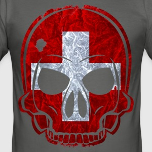 MMJ Switzerland flag / banner skull / Skull T-Shir - Men's Slim Fit T-Shirt