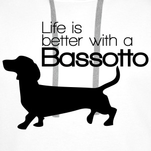 Life is better with a Bassotto Felpe - Felpa con cappuccio premium da uomo
