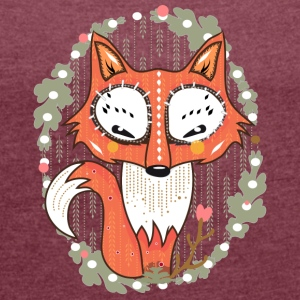 Bordeaux gemêleerd a small fox in the forest T-shirts - Vrouwen T-shirt met opgerolde mouwen