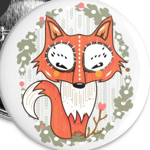 Hvit a small fox in the forest Buttons & merkelapper - Middels pin 32 mm