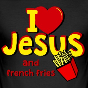 I LOVE JESUS AND FRENCH FRIES - Männer Slim Fit T-Shirt