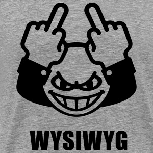 WYSIWYG Give The Finger Smiley (Fuck Off You) T-Shirts - Men's Premium T-Shirt