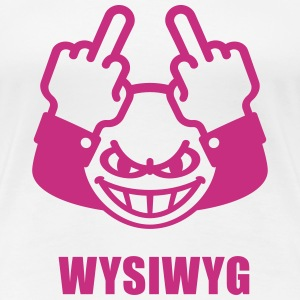 WYSIWYG Give The Finger Smiley (Fuck Off You) T-Shirts - Women's Premium T-Shirt