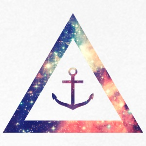 Galaxy / universe / hipster triangle with anchor T-Shirts - Men's V-Neck T-Shirt