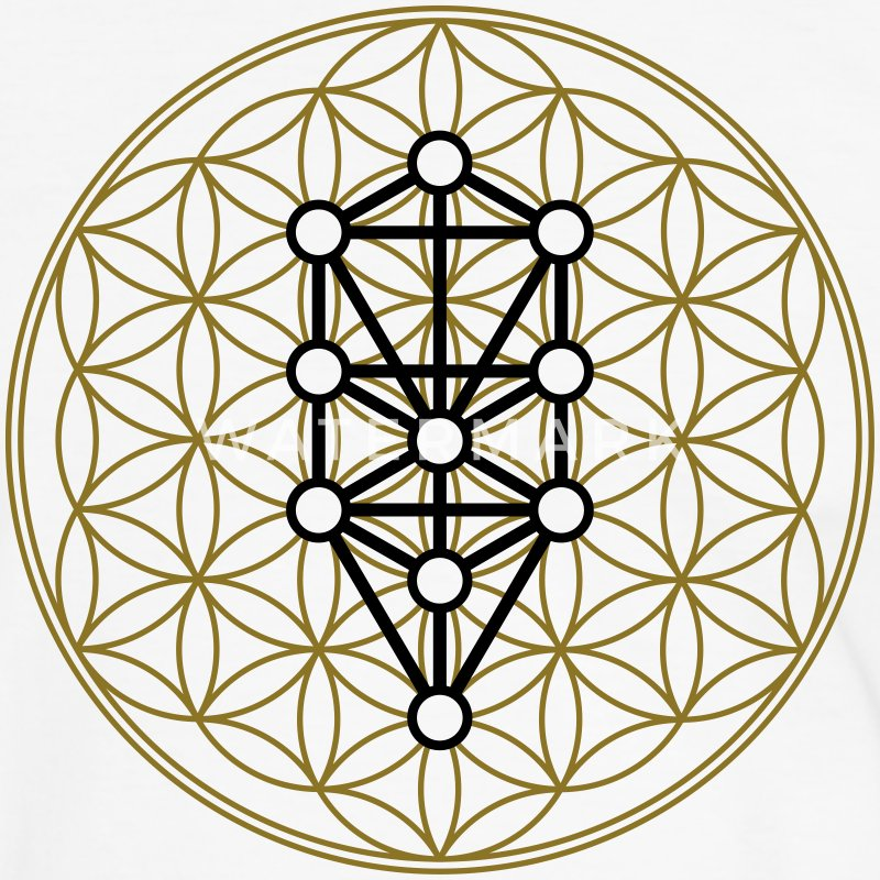 Flower of Life with 10 Sephiroth, Kabbalah, 2c T-shirts - Mannen contrastshirt