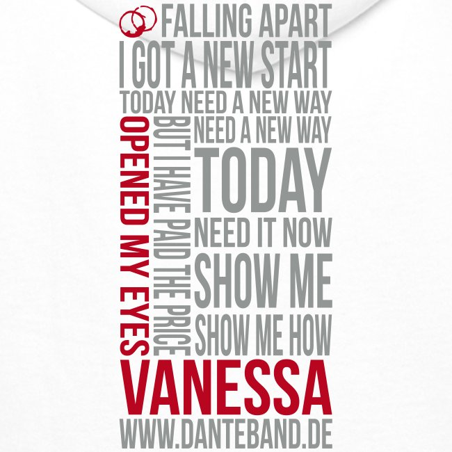 DANTE Men Hoodie Vanessa Lyric white - red / grey