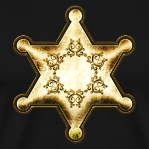 Gold Sheriff Star, Wild West America, Chief, Boss  - Men's Premium T-Shirt
