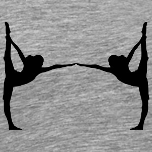 2 kvinder i yoga motion design T-shirts - Herre premium T-shirt