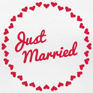 Just Married Heart Badge1 T-Shirts - Women's Premium T-Shirt