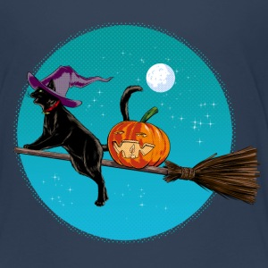 Halloween Witch Cat T-Shirts - Kinder Premium T-Shirt
