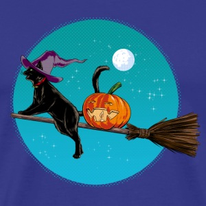 Kongeblå Halloween Witch Cat T-skjorter - Premium T-skjorte for menn