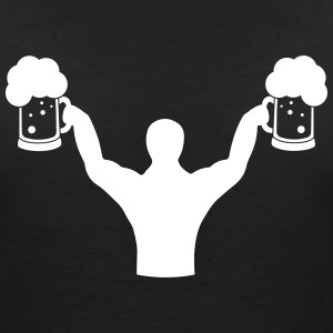 Body builder fitness with beer T-Shirts - Women's V-Neck T-Shirt