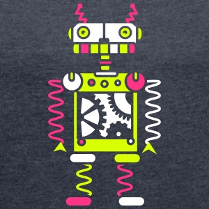 A robot with gear wheels T-Shirts - Women's T-shirt with rolled up sleeves