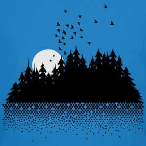 Forest, lake, moon and birds  T-Shirts - Men's Organic T-shirt
