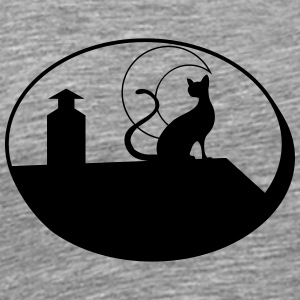 Cat night Moon roof star T-Shirts - Men's Premium T-Shirt