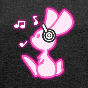 Glowing Music Bunny T-Shirts - Women's T-shirt with rolled up sleeves