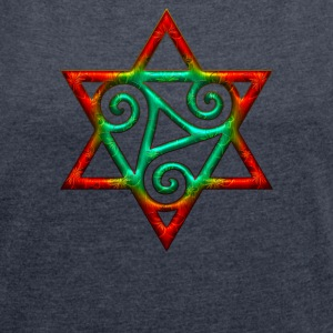 Triskele, hexagram, power of the Trinity, magic T-Shirts - Women's T-shirt with rolled up sleeves