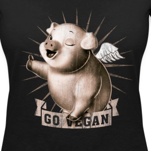 Black go vegan T-Shirts - Women's V-Neck T-Shirt