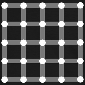 Optical illusion, Find the black dot! T-shirts - Kontrast-T-shirt herr