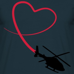 Helicopter Love Heart Looping T-Shirts - Men's T-Shirt