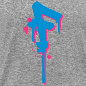 F graffiti drops Farbklex spray T-skjorter - Premium T-skjorte for menn