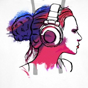 girl with headphones, woman with headphones Bluzy - Bluza męska Premium z kapturem