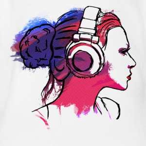 girl with headphones, woman with headphones Shirts - Organic Short-sleeved Baby Bodysuit