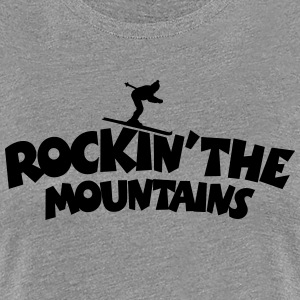 Rockin the Mountains Ski T-Shirt (Damen Grau/Schwa - Frauen Premium T-Shirt