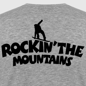 Rockin the Mountains Snowboard T-Shirt (Herren Gra - Männer Premium T-Shirt