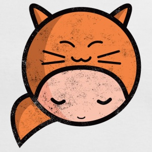 kawaii sarah happy cat worn out T-shirts - Kontrast-T-shirt dam