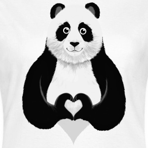 Cute Panda Heart Hand T-Shirts - Women's T-Shirt