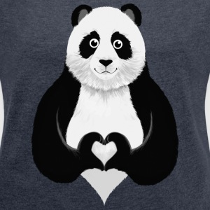 Cute Panda Heart Hand T-Shirts - Women's T-shirt with rolled up sleeves