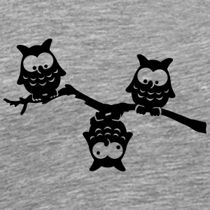Owls funny branch upside down crazy eagle-owl T-Shirts - Men's Premium T-Shirt