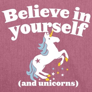 Believe in yourself (and UNICORNS) plain Bags & Backpacks - Shoulder Bag made from recycled material