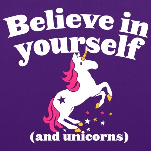 Believe in yourself (and UNICORNS) plain Bags & Backpacks - Tote Bag