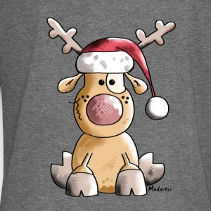 Funny Christmas Reindeer Cartoon Hoodies & Sweatshirts - Women's Boat Neck Long Sleeve Top