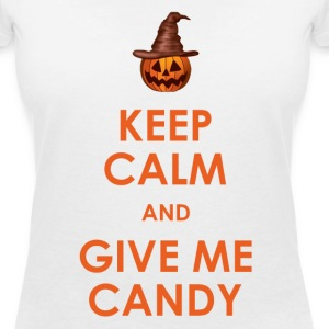 Keep Calm and Give Me Candy Halloween T-Shirts - Women's V-Neck T-Shirt