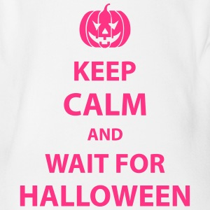 keep calm and wait for halloween Shirts - Organic Short-sleeved Baby Bodysuit