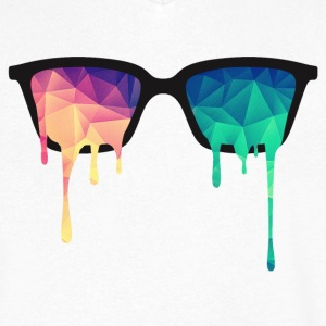 Abstract Psychedelic Nerd Glasses with Color Drops Koszulki - Koszulka męska Canvas z dekoltem w serek