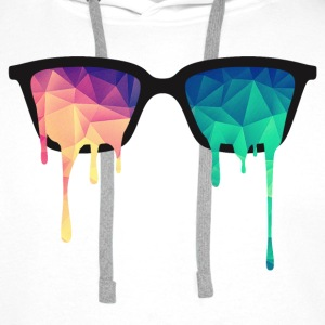 Abstract Psychedelic Nerd Glasses with Color Drops Hoodies & Sweatshirts - Men's Premium Hoodie