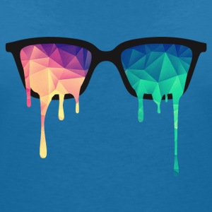 Abstract Psychedelic Nerd Glasses with Color Drops Koszulki - Koszulka damska  z dekoltem w serek