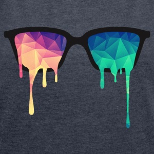 Abstract Psychedelic Nerd Glasses with Color Drops T-paidat - Naisten T-paita, jossa rullatut hihat