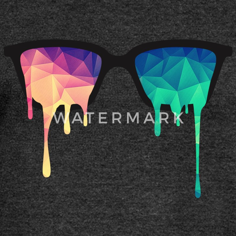 Abstract Psychedelic Nerd Glasses with Color Drops Sudaderas - Sudadera con escote drapeado mujer