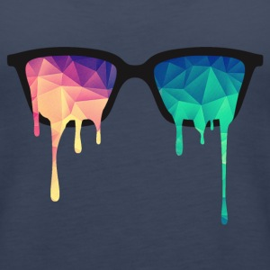 Abstract Psychedelic Nerd Glasses with Color Drops Tops - Women's Premium Tank Top