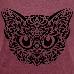 Cat Illustration T-Shirts - Women's T-shirt with rolled up sleeves