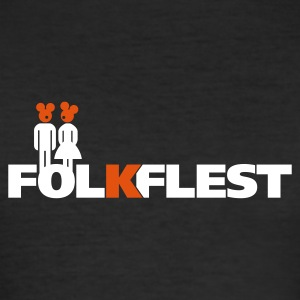 Svart folkflestprint T-skjorte - Slim Fit T-skjorte for menn