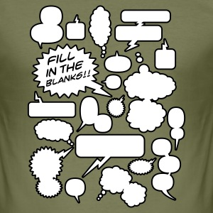 Olijfgroen Fill in the blanks | Cartoon balloons Heren t-shirts - slim fit T-shirt